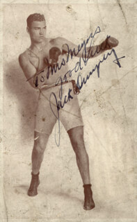JACK DEMPSEY - INSCRIBED ADVERTISEMENT SIGNED