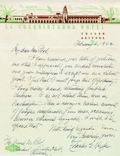 CHIEF JUSTICE CHARLES E HUGHES - AUTOGRAPH LETTER SIGNED 02/06/1942