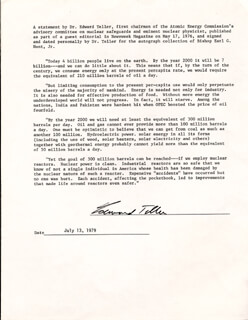 Autographs: EDWARD TELLER - TYPESCRIPT SIGNED 07/13/1979
