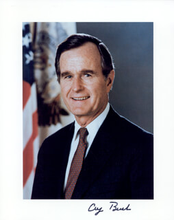 PRESIDENT GEORGE H.W. BUSH - AUTOGRAPHED SIGNED PHOTOGRAPH