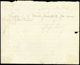 FRANK JAMES - AUTOGRAPH RECEIPT SIGNED 07/14/1908 CO-SIGNED BY: HOLLIS J. PALLADY