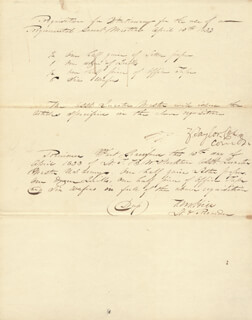 Autographs: PRESIDENT ZACHARY TAYLOR - MANUSCRIPT DOCUMENT SIGNED 04/13/1833 CO-SIGNED BY: T. M. HILL