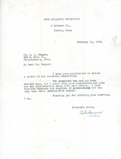 Autographs: REAR ADMIRAL RICHARD E. BYRD - TYPED LETTER SIGNED 02/11/1928