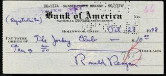PRESIDENT RONALD REAGAN - AUTOGRAPHED SIGNED CHECK 10/28/1948