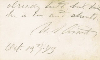 Autographs: PRESIDENT ULYSSES S. GRANT - AUTOGRAPH NOTE SIGNED 10/13/1873