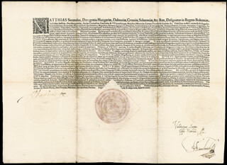 EMPEROR MATTHIAS (HOLY ROMAN) - DOCUMENT SIGNED 03/10/1610