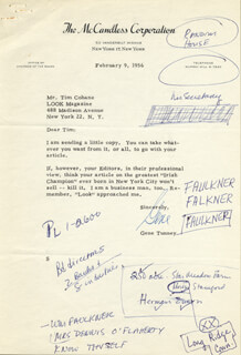 GENE TUNNEY - TYPED LETTER SIGNED 02/09/1956