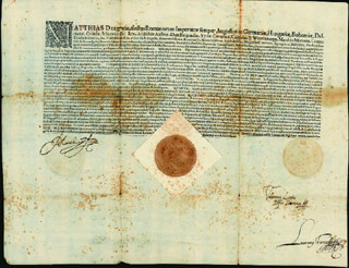 EMPEROR MATTHIAS (HOLY ROMAN) - DOCUMENT SIGNED 08/28/1618