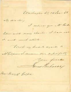 PRESIDENT JAMES BUCHANAN - AUTOGRAPH LETTER SIGNED 01/25/1858