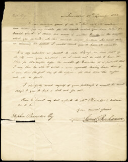 Autographs: PRESIDENT JAMES BUCHANAN - AUTOGRAPH LETTER SIGNED 09/26/1822