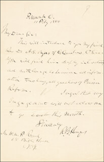 PRESIDENT RUTHERFORD B. HAYES - AUTOGRAPH LETTER SIGNED 02/11/1884