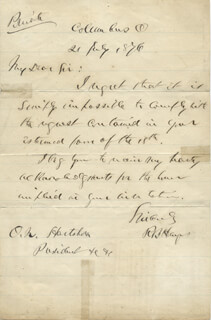 PRESIDENT RUTHERFORD B. HAYES - AUTOGRAPH LETTER SIGNED 07/21/1876