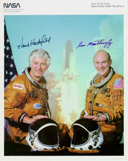 REAR ADMIRAL KEN MATTINGLY II - AUTOGRAPHED SIGNED PHOTOGRAPH CO-SIGNED BY: COLONEL HENRY HANK HARTSFIELD JR.