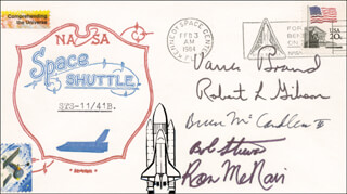 SPACE SHUTTLE CHALLENGER - STS - 41B CREW - COMMEMORATIVE ENVELOPE SIGNED CO-SIGNED BY: CAPTAIN ROBERT L. HOOT GIBSON, BRIGADIER GENERAL ROBERT L. BOB STEWART, CAPTAIN BRUCE MCCANDLESS II, RONALD E. McNAIR, VANCE BRAND