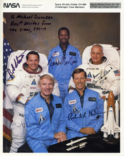 SPACE SHUTTLE CHALLENGER - STS - 41B CREW - INSCRIBED PRINTED PHOTOGRAPH SIGNED IN INK CO-SIGNED BY: CAPTAIN ROBERT L. HOOT GIBSON, BRIGADIER GENERAL ROBERT L. BOB STEWART, CAPTAIN BRUCE MCCANDLESS II, RONALD E. McNAIR, VANCE BRAND