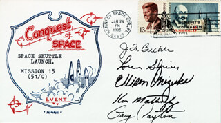 LT. COLONEL ELLISON S. EL ONIZUKA - COMMEMORATIVE ENVELOPE SIGNED CO-SIGNED BY: COLONEL JAMES F. BUCHLI, MAJOR GARY PAYTON, COLONEL LOREN SHRIVER, REAR ADMIRAL KEN MATTINGLY II