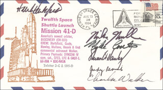 JUDITH A. JUDY RESNIK - COMMEMORATIVE ENVELOPE SIGNED CO-SIGNED BY: STEVEN A. HAWLEY, CHARLES D. WALKER, COLONEL RICHARD MIKE MULLANE, COLONEL HENRY HANK HARTSFIELD JR., CAPTAIN MICHAEL L. COATS