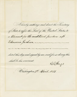 PRESIDENT RUTHERFORD B. HAYES - PRESIDENTIAL WARRANT SIGNED 04/09/1877