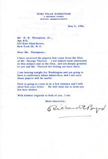 Autographs: REAR ADMIRAL RICHARD E. BYRD - TYPED LETTER SIGNED 05/04/1954
