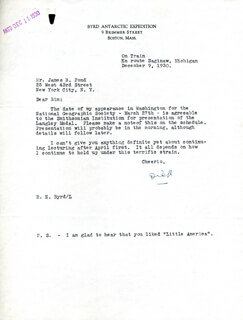 Autographs: REAR ADMIRAL RICHARD E. BYRD - TYPED LETTER SIGNED 12/09/1930