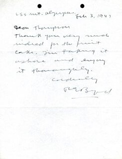 Autographs: REAR ADMIRAL RICHARD E. BYRD - AUTOGRAPH LETTER SIGNED 02/03/1947