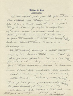 WILLIAM S. HART - AUTOGRAPH LETTER SIGNED 01/20/1934