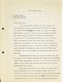 Autographs: ALBERT EINSTEIN - TYPED LETTER SIGNED 04/19/1949
