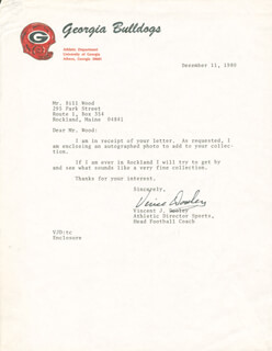 VINCE DOOLEY - TYPED LETTER SIGNED 12/11/1980