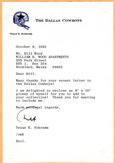 TEX SCHRAMM - TYPED LETTER SIGNED 10/08/1981