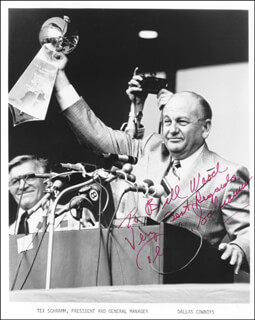 TEX SCHRAMM - AUTOGRAPHED INSCRIBED PHOTOGRAPH