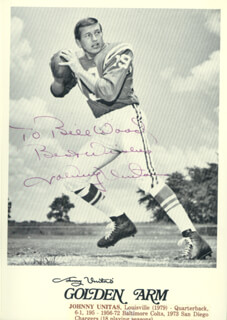 JOHNNY UNITAS - AUTOGRAPHED INSCRIBED PHOTOGRAPH