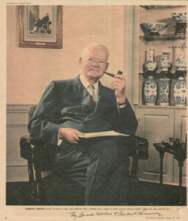Autographs: PRESIDENT HERBERT HOOVER - MAGAZINE PHOTOGRAPH SIGNED CIRCA 1958