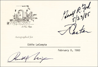 Autographs: THE THREE PRESIDENTS - PRINTED CARD SIGNED IN INK 02/08/1980 CO-SIGNED BY: PRESIDENT JAMES E. JIMMY CARTER, PRESIDENT RICHARD M. NIXON, PRESIDENT GERALD R. FORD