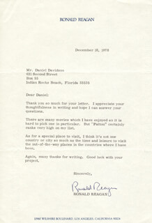 PRESIDENT RONALD REAGAN - TYPED LETTER SIGNED 12/18/1978
