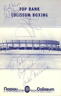 Autographs: JERRY QUARRY - PROGRAM SIGNED CIRCA 1974 CO-SIGNED BY: GIL CLANCY, ARTHUR MERCANTE