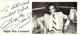 RAY SUGAR RAY LEONARD - AUTOGRAPHED INSCRIBED PHOTOGRAPH