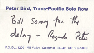 Autographs: PETER BIRD - INSCRIBED BUSINESS CARD SIGNED