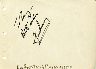 FRED PERRY - AUTOGRAPH NOTE SIGNED CIRCA 1938