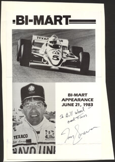 TOM SNEVA - INSCRIBED ADVERTISEMENT SIGNED