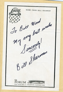 BILL SHARMAN - AUTOGRAPH NOTE SIGNED