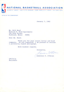 Autographs: LAWRENCE LARRY O'BRIEN - TYPED LETTER SIGNED 01/07/1982