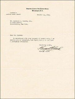 ASSOCIATE JUSTICE HUGO L. BLACK - TYPED LETTER SIGNED 10/24/1944
