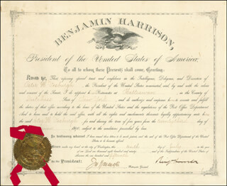 PRESIDENT BENJAMIN HARRISON - CIVIL APPOINTMENT SIGNED 07/10/1890 CO-SIGNED BY: JOHN WANAMAKER