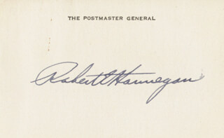 ROBERT E. HANNEGAN - PRINTED CARD SIGNED IN INK
