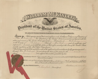 Autographs: PRESIDENT WILLIAM McKINLEY - CIVIL APPOINTMENT SIGNED 01/31/1899 CO-SIGNED BY: CHARLES EMORY SMITH