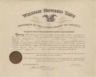 Autographs: PRESIDENT WILLIAM H. TAFT - CIVIL APPOINTMENT SIGNED 02/28/1912 CO-SIGNED BY: FRANK H. HITCHCOCK