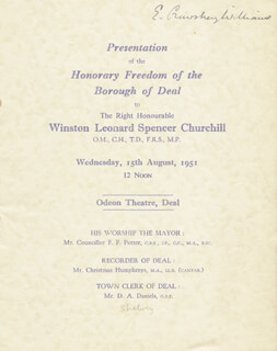 ELIOT CRAWSHAY-WILLIAMS - PROGRAM SIGNED 08/15/1951