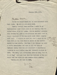 ELIOT CRAWSHAY-WILLIAMS - ANNOTATED TYPED LETTER SIGNED 01/17/1934