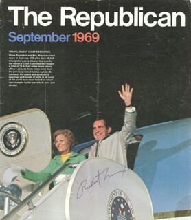 PRESIDENT RICHARD M. NIXON - MAGAZINE COVER SIGNED