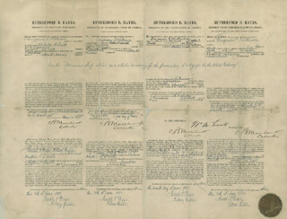 PRESIDENT RUTHERFORD B. HAYES - FOUR LANGUAGE SHIPS PAPERS SIGNED 06/07/1881 CO-SIGNED BY: JOSEPH T. PEASE, B. MARCHANT, WILLIAM M. EVARTS